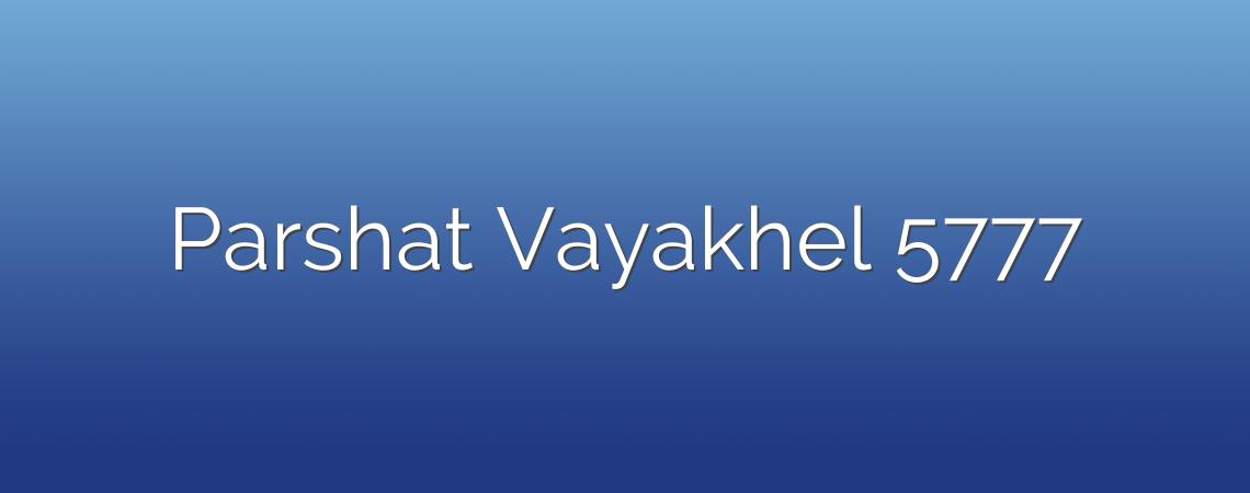 Parshat Vayakhel 5777